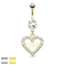 Steel Navel Belly Button Ring 14g Cz Hollow Heart 14K Gold Plated Surgical