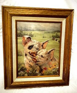 Joy Campbell Signed Original Oil Painting Two Pigs In Love 8x10 Canvas In Frame