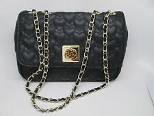 Black Gold Quilted Leopard Heart Handbag Gold Chain Strap Purse Be Mine