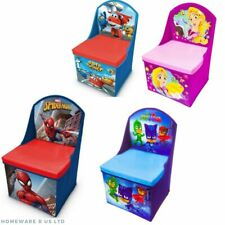 GIRLS BOYS CHILDRENS BEDROOM STORAGE CHAIR TOY BOX OTTOMAN DISNEY CARS PRINCESS