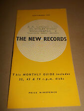 THE NEW RECORDS ~ RARE MONTHLY GUIDE SEPTEMBER 1959 EXCELLENT CONDITION