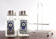 Glass Salt Pepper Shakers with Metal Tray - Hamsa Hand Jewish Protection Symbol