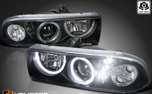 For 1998-2004 Chevy S10 Pickup Blazer LED Halo Projector Headlights Black L+R