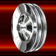 Press On Power Steering Pulley Double Groove SB and BB Chevy Chrome 283 -  454