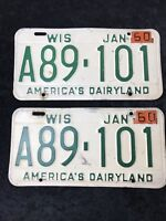 1959 WISCONSIN LICENSE PLATE Metal Registration Tag America's Dairyland A89 101