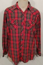 Ely Cattleman Pearl Snap Red Flannel Long Sleeve Cowboy Work Shirt ~ XL T ~