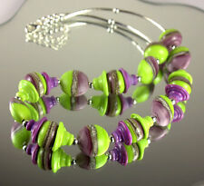 240 - Handmade Artist Lampwork Bead Necklace - Purple and Green colours