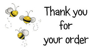 325 x THANK YOU FOR YOUR ORDER - CUTE  BUSY BEES - STICKERS MATTE WHITE LABELS