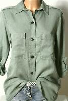 ZARA Bluse Gr. S oliv-grün Langarm Hemd/Bluse in leichtem Military Look