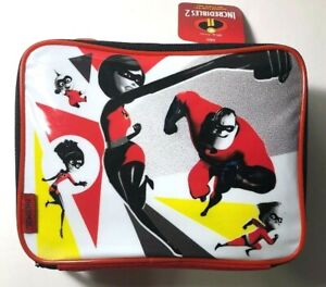 Thermos The Incredibles 2 Soft Insulated Lunch Kit Cooler Bag Box Red Black NWT