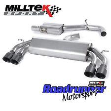"""MILLTEK GOLF R MK7 CAT RETRO SISTEMA DI SCARICO RACE 3"""" nero non rinunciando Consonanza GT"""