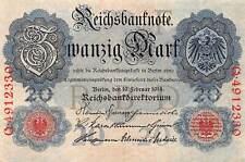 Reichsbanknote 20 Mark 19.02.1914 Geldschein Ro: 47 b Kassenfrisch / UNC