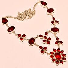 "45 Gm Sensational Garnet Pear,Round Cut  Silver Overlay Necklace 18"""