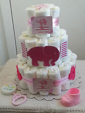 3 Tier Diaper Cake Pink & White Elephant Baby Shower Gift Centerpiece - Girl