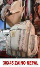 BORSA ETNICA ZAINO BEIGE E FANTASY NEPAL 45x30 cm BAG TESSUTO NEPALESE ORIGINALE
