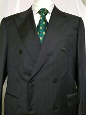 CANALI Double Breast Blazer 54 Super 120's ITALY 100% Virgin Wool PINSTRIPE