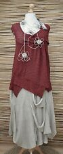 *ZUZA BART*DESIGN HAND MADE KNIT BOUCLE IRREGULAR LONG TUNIC**BRICK**Size  L