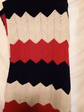 Vintage Afghan Crochet ripple pattern  Colors red white and blue.