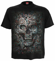 Spiral Direct T-shirt Gothic Mexican Skull Illusion Men's Black Cotton Top Biker