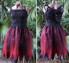 Fairy Dress Party Costume with Wings – WOMEN'S ONE SIZE - Black/Red Witch