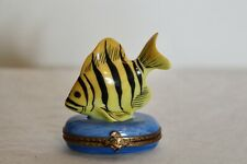 New ListingLimoges France Peint Main Trinket Pill Box Yellow Black Stripe Fish