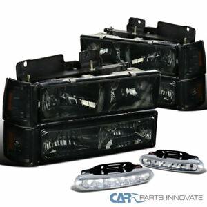 94-98 GMC C10 C/K Smoke Headlights Bumper Corner Lamps+Clear 6-LED Fog Lights