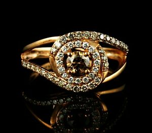 LEVIAN SIGNED NATURAL 5/8ctw CHOCOLATE DIAMOND 14K STRAWBERRY ROSE GOLD RING