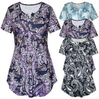 Womens Short Sleeve V Neck Loose T Shirt Floral Shirt Casual Tunic Tops Blouse