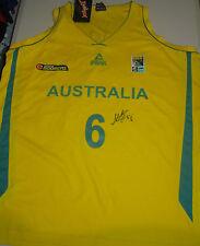 Andrew Bogut hand signed Australian Boomers Basketball jersey gold + photo proof