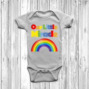 Our Little Miracle Baby Grow Body Suit Vest Cute Present Gift IVF Mum To Be