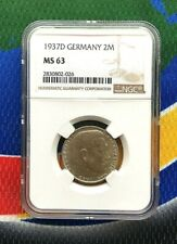 NGC MS 63 1937 D  2 Mark WWII  German SILVER Third  Reich Coin 5*