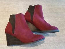 Atmosphere size 6 (39) maroon faux suede wedge heel Chelsea ankle boots