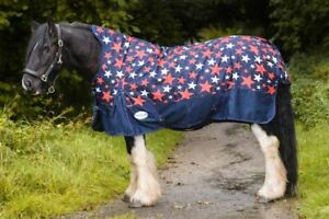 600D Horse Turnout Rug HALF Neck Waterproof Double Buckl Navy White Star 5'3-6'9
