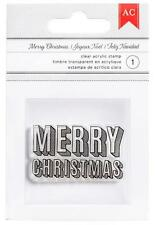 American Crafts MERRY CHRISTMAS Clear Acrylic Stamp 340420