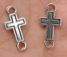 60pcs Tibet silver cross charm pendant charm bracelet  connector fittings E3382