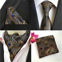 Mens Black Orange Flower Paisley Tie Necktie Ascot Cravat Pocket Square Set Lot