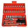 "46 Pc SAE/METRIC 1/4"" 63mm Socket Set Ratchet W/ Case Hand Tools NEW"