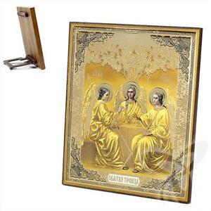 Ikone Heilige Dreifaltigkeit Holz 15x18 K Святая Троица Икона 1