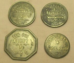 antique~4 TRADE TOKENS~2 1/2 CENT & 5 CENT~TEN PIN ALLEY~POOL HALL~BRUNSWICK~