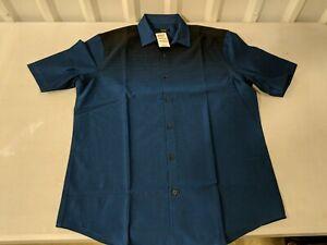 Alfani Mens Collared Print Woven Button-Down Short Sleeve Shirt Medium Blue Blac