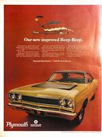 1968 Plymouth Road Runner Vintage Print Ad Our New Improved Beep Beep