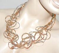 COLLAR mujer gargantilla oro rosa plata alambres elegante collier ожерелье G10