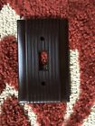 Vintage Brown Toggle SWITCH COVER P & S UNILINE Ribbed