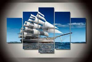 Leisure Life Ship Seascape 5 pcs HD Art Poster Wall Home Decor Canvas Print
