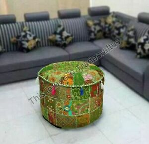 """Indian Pouf Cover Cotton Ottoman Handmade Patchwork Floor Throw 22"""" Inches Cover"""