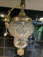 More details for old vintage pretty art deco 1920s pendant light glass and brass small h:25cm