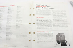 Polaroid ID-3 Validation Plate Insertion Guide - Single Page English USED B216K