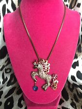 Betsey Johnson Vintage Fairyland LARGE Crystal Unicorn Blue Heart Necklace RARE