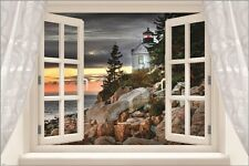 window into lighthouse CLASSIC SCENIC POSTER rocks trees STORMY SKY 24X36