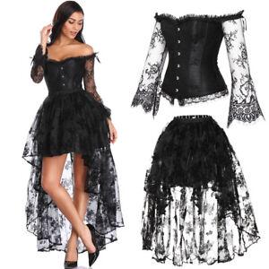 Women Steampunk Sexy Waist Trainer Corset Dress Gothic Burlesque Costume Bustier